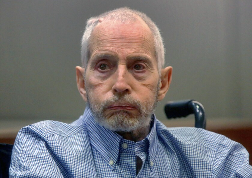 FILE - In this Friday, Jan. 6, 2017, file photo, real estate heir Robert Durst appears in Los Angeles Superior Court Airport Branch for a hearing in Los Angeles. A Los Angeles jury convicted Robert Durst Friday, Sept. 17, 2021 of murdering his best friend 20 years ago in a case that took on new life after the New York real estate heir participated in a documentary that connected him to the slaying linked to his wife's 1982 disappearance. (Mark Boster/Los Angeles Times via AP, Pool, File)