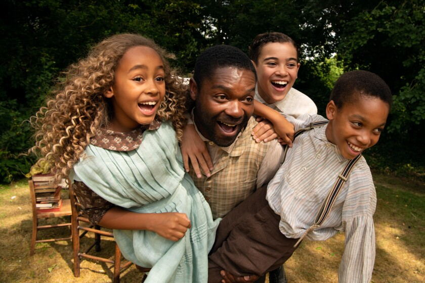 "Keira Chansa, David Oyelowo, Reece Yates and Jordan A. Nash in ""Come Away,"" a mashup of Peter Pan and Alice in Wonderland."