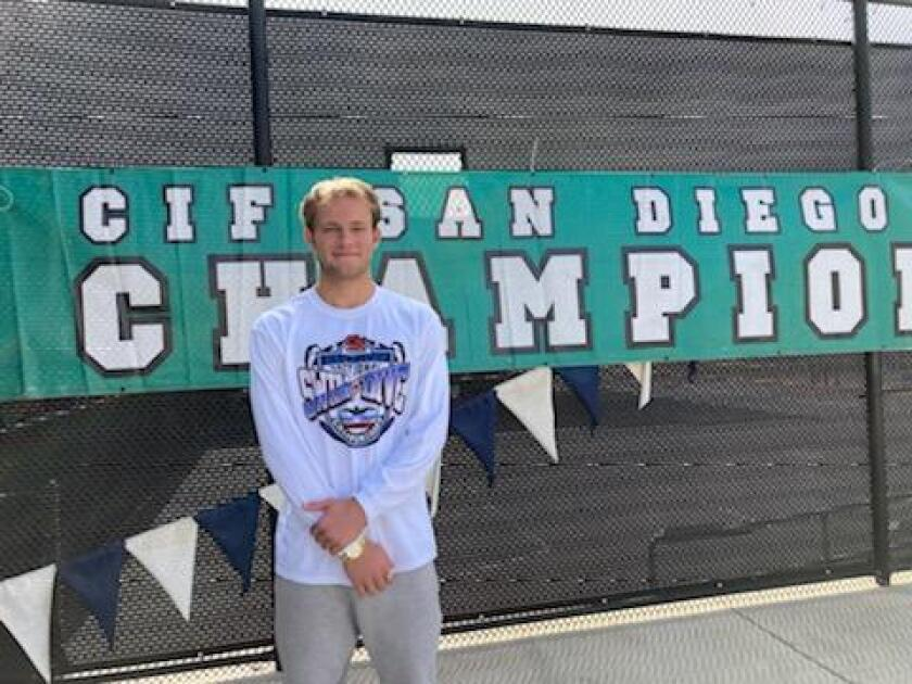 Caden Clark, a Mountain Valley Academy junior, won the CIF Division II boys diving championship on April 23.