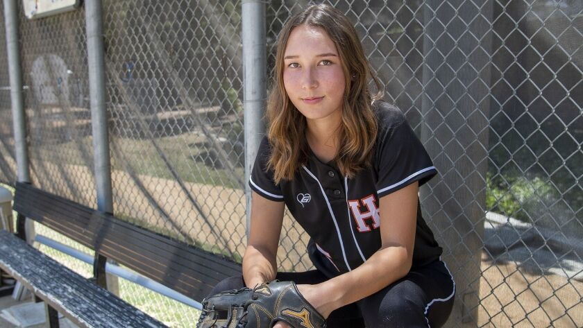 Huntington Beach High's Kelli Kufta is the Daily Pilot Softball Player of the Year. Photo taken on
