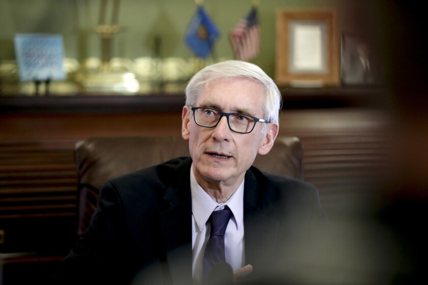 """Wisconsin Gov. Tony Evers, seen here on March 21, 2019, responded to President Donald Trump's recent comments about abortion in his state,saying that """"to say that doctors in the state of Wisconsin are executing babies is just a blasphemy."""""""