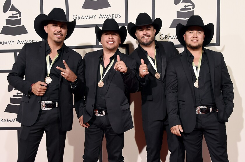 LOS ANGELES, CA - FEBRUARY 15: Members of La Maquinaria Nortena attends The 58th GRAMMY Awards at Staples Center on February 15, 2016 in Los Angeles, California. (Photo by Steve Granitz/WireImage)