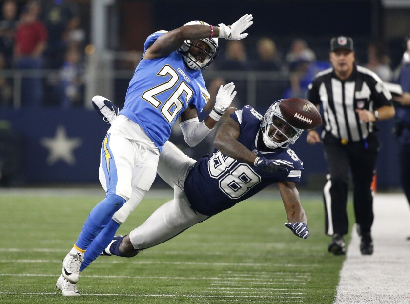 Chargers cornerback Casey Hayward (26), breaking up a pass intended for Dallas Cowboys receiver Dez Bryant last Thursday, has left the team because of his brother's death in a car accident.