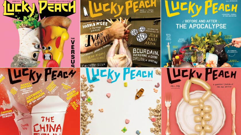 The covers of six issues of the Lucky Peach, the quarterly food journal that's being shuttered.