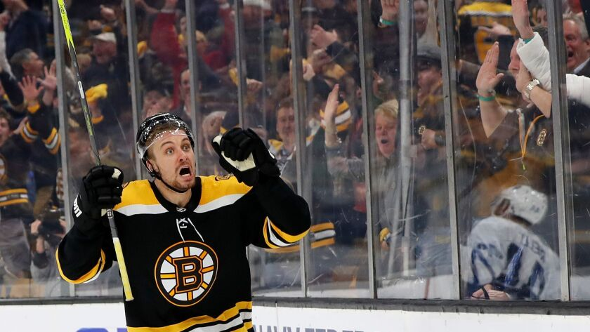 Nhl Playoffs Bruins Beat Maple Leafs 5 1 In Game 7 Ot Goal Caps Sharks Win Against Golden Knights Los Angeles Times