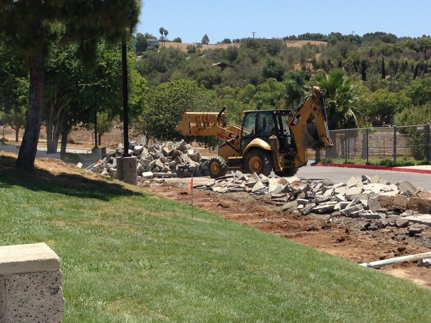 Work is underway on the campus of Sullivan Middle School in Bonsall to make way for the new Bonsall High School.