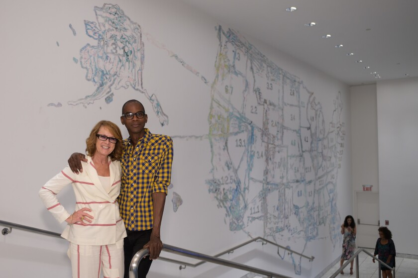Ann Philbin, museum director with Mark Bradford, the featured artist with a solo show. The Hammer Mu