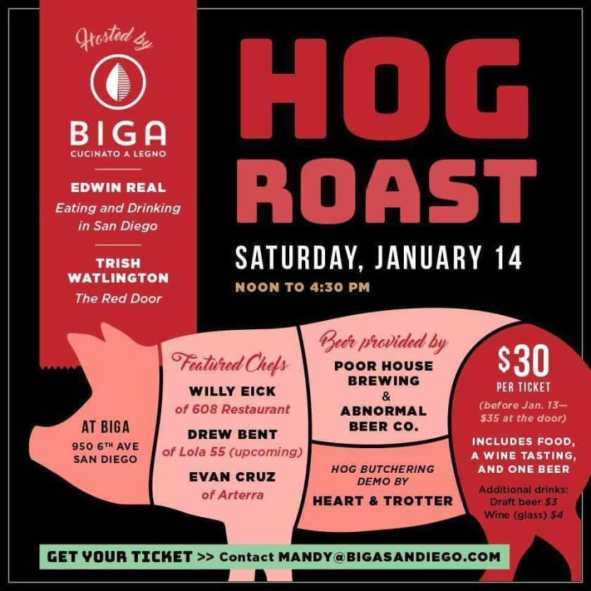 Biga's first ever hog roast will take over the downtown resturant on Saturday, Jan. 14 (Biga)