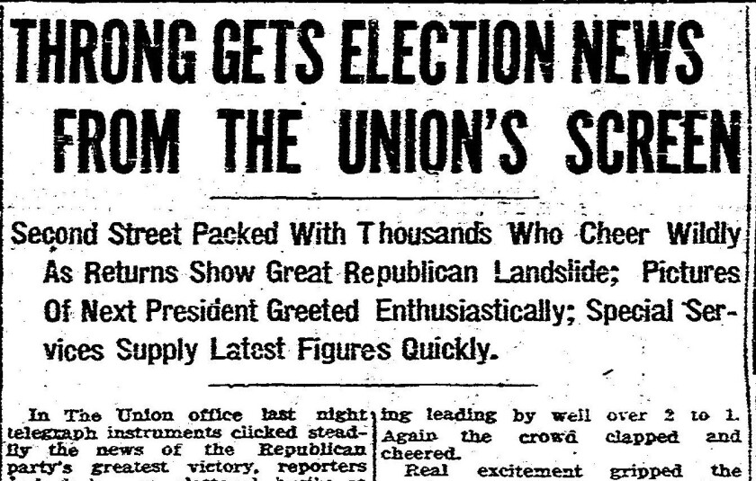 Election News headline from The San Diego Union Nov. 3, 1920