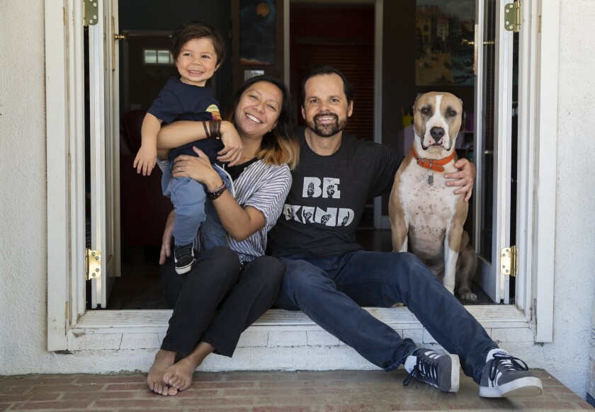 Kidney donor Keith Michaelis with his wife, Cecile, son Henry, 2, and dog Finn, a 5-year-old Staffordshire-Great Dane, at their home in Winnetka.