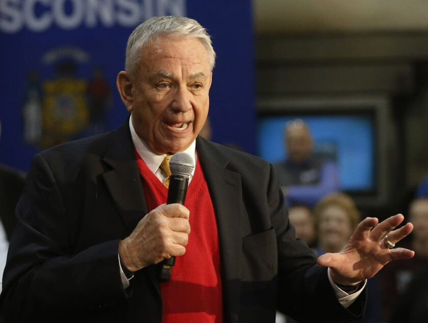 FILE - In this March 18, 2016 file photo, Tommy Thompson shows in West Salem, Wis. Thompson, the longest-serving governor in Wisconsin history and current interim president of the University of Wisconsin System, says, Thursday, Sept. 16, 2021, he is having surgery following a weekend water skiing accident. (AP Photo/Charles Rex Arbogast,File)