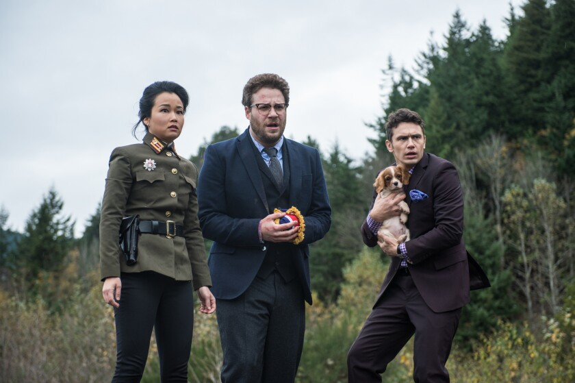 """Diana Bang, Seth Rogen and James Franco in """"The Interview."""""""