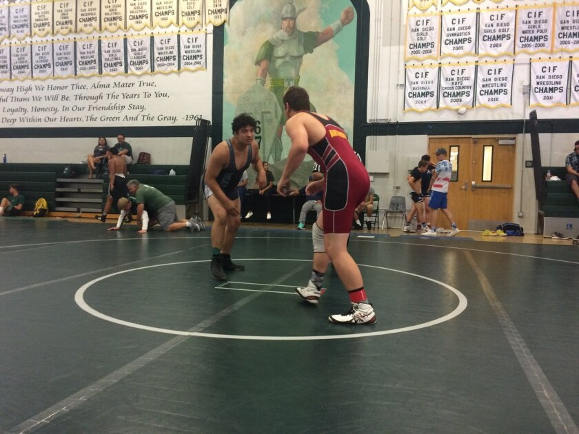 Torrey Pines wrestler Joe Anthony competing for Carmel Valley Rebels Wrestling Club at Poway High Summer Slam. Courtesy photo