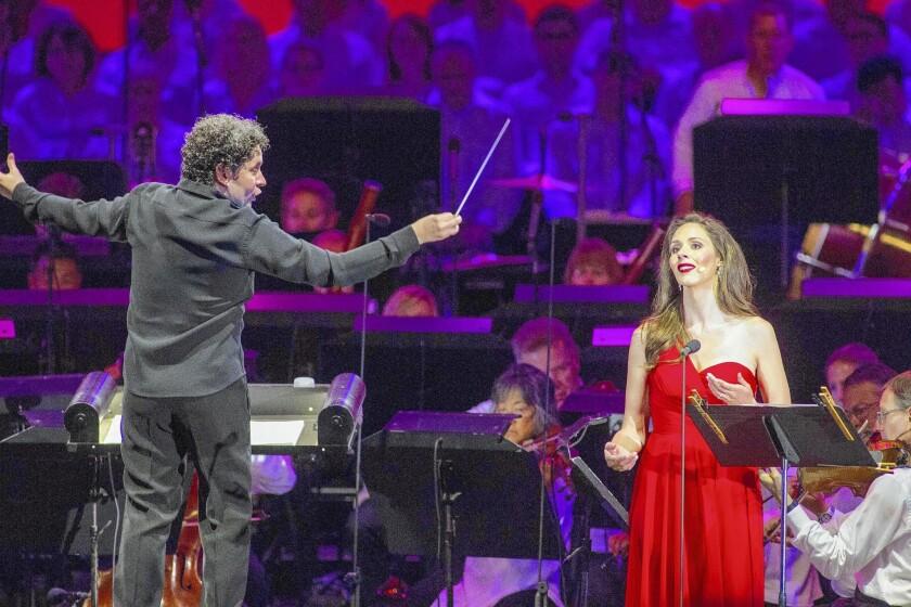 Conductor Gustavo Dudamel and mezzo-soprano Tamara Mumford perform at the Hollywood Bowl.