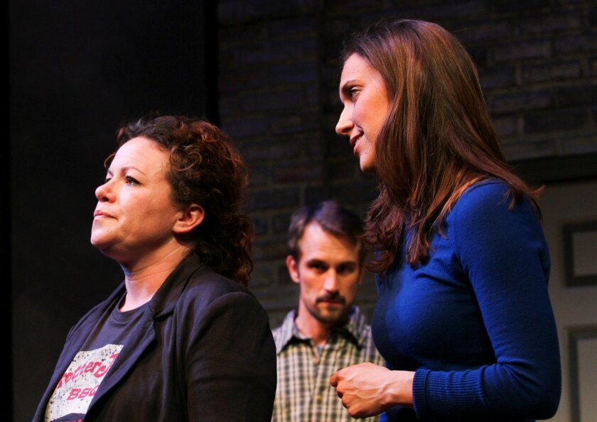 """Deanna Driscoll, Francis Gercke and Aubrey Saverino in San Diego Rep's """"In the Wake."""""""