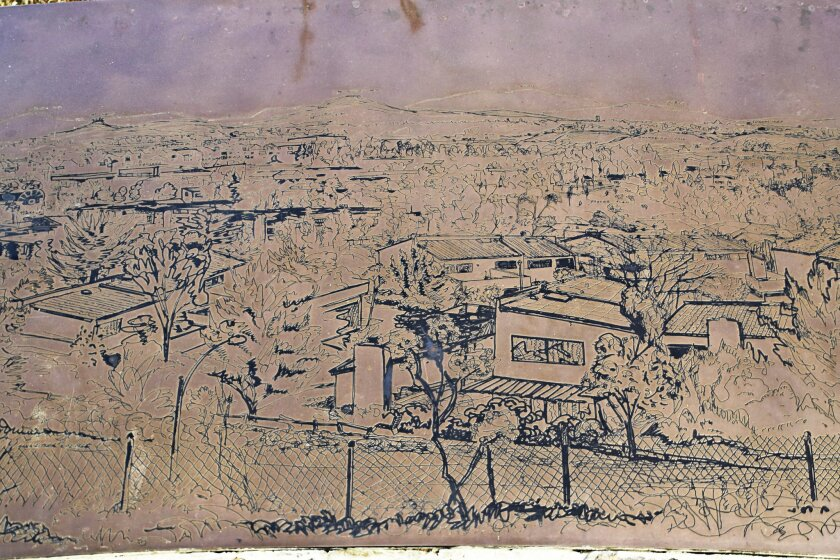 Photograph of an etching from Wegman's 1988 commission with UC San Diego's Stuart Collection, 'La Jolla Vista View.' Courtesy photo