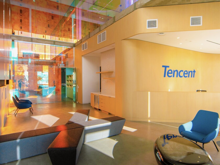 A lobby in Tencent's new Playa Vista office.