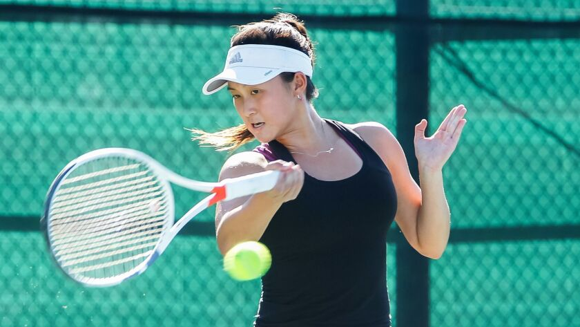 SAN DIEGO, CA November 9th, 2018 | Canyon Crest Academy tennis player Irene Huang plays in the San D