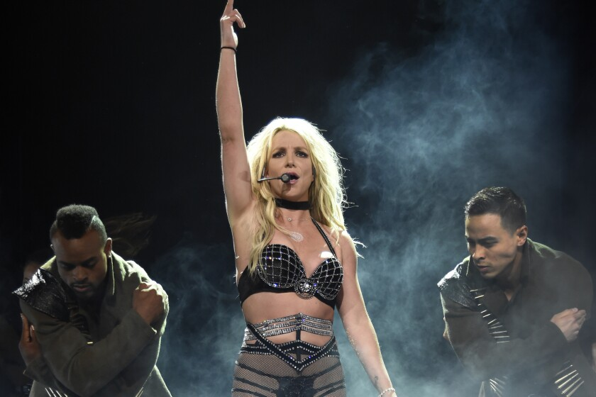 """NATIONAL HARBOR, MD - JULY 12: Britney Spears performs on stage during her """"Piece of Me"""" Summer Tour Opener at The Theater at MGM National Harbor on July 12, 2018 in National Harbor, Maryland. (Photo by Kevin Mazur/BCU18/Getty Images for BCU)"""