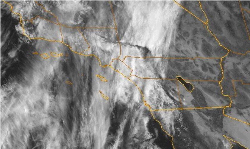 Storm clouds are spreading over Southern California.