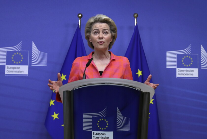European Commission President Ursula von der Leyen delivers a statement at EU headquarters in Brussels, Wednesday, Oct. 14, 2020. European Commission President Ursula von der Leyen announced plans for a new European Bauhaus project, as the EU announces a major building renovation project seeking to cut down energy costs and polluting emissions while providing a big boost to the construction industry. (Yves Herman, Pool via AP)