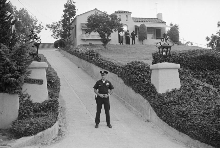 Police guarding murder scene