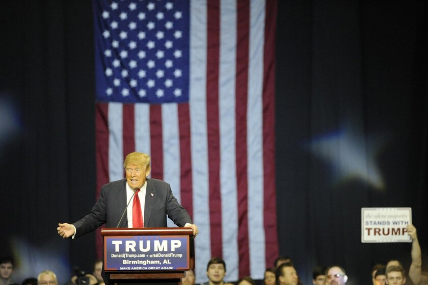 Republican presidential candidate Donald Trump speaks during a campaign stop in Birmingham, Ala.