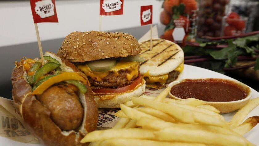 EL SEGUNDO, CA - FEBRUARY 11, 2019 - - The Beyond Sausage, left, the Beyond Burger 2.0, and the Beyo