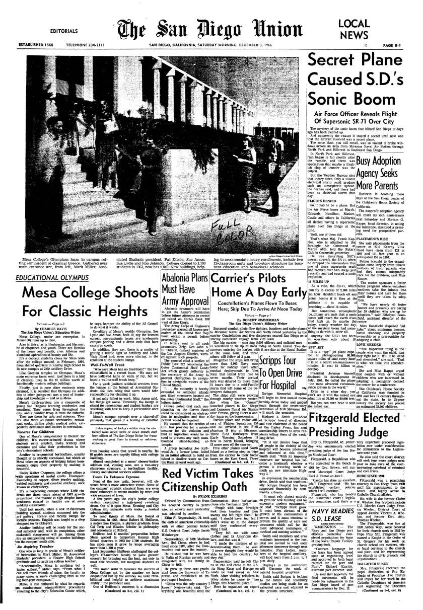 """""""Secret Plane Caused S.D.'s Sonic Boom,"""" article on page B-1 of The San Diego Union, Dec. 3, 1966."""