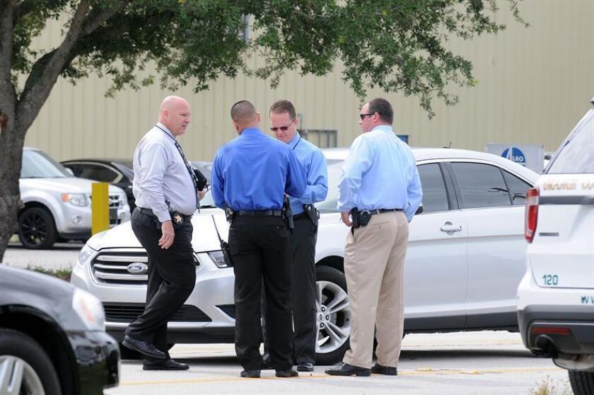 Vista de varios agentes de la policía después de arrestar a una persona en Florida. EFE/Archivo