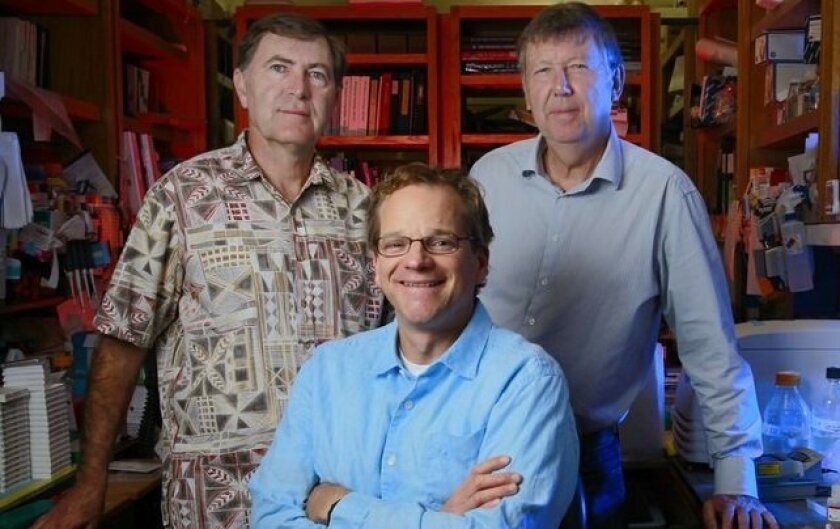 HIV researchers David Nemazee, left, William Schief, center, and Dennis Burton, all of the Scripps Research Institute. They played key roles in three HIV studies about developing a preventive vaccine.