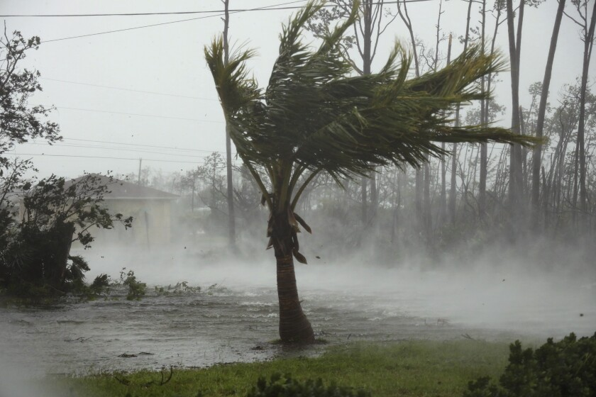 Strong wind from Hurricane Dorian blow the tops of trees while whisking up water from the surface of a canal in Freeport, Grand Bahama, Bahamas, Monday, Sept. 2, 2019. Hurricane Dorian hovered over the Bahamas on Monday, pummeling the islands with a fearsome Category 4 assault that forced even rescue crews to take shelter until the onslaught passes.