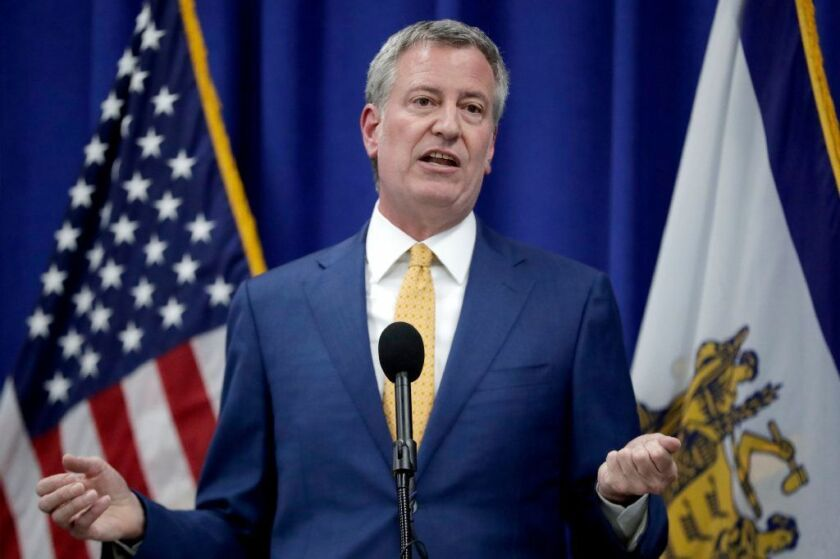 Mayor de Blasio speaks during a news conference.
