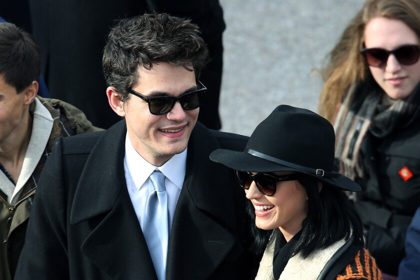 John Mayer and Katy Perry attend President Obama's inauguration last week.