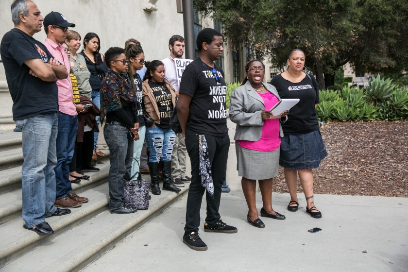 Attorney Nana Gyamfi, second from right, at a September 2015 news conference alongside Black Lives Matters activists calling for the release of Pasadena Black Lives Matter organizer Jasmine Richards.