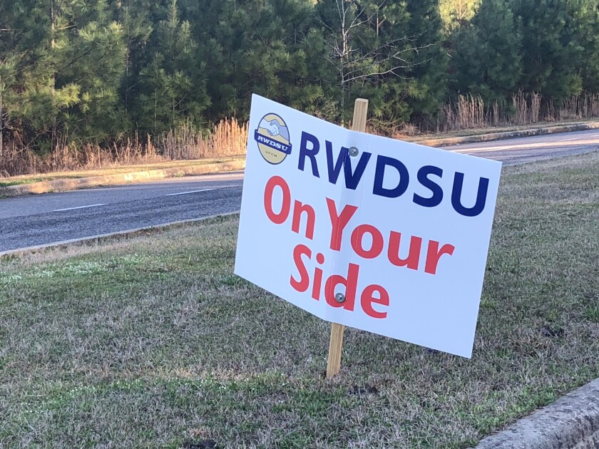 A sign outside the Amazon Fulfillment Center in Bessemer, Ala., where workers voted not to unionize.