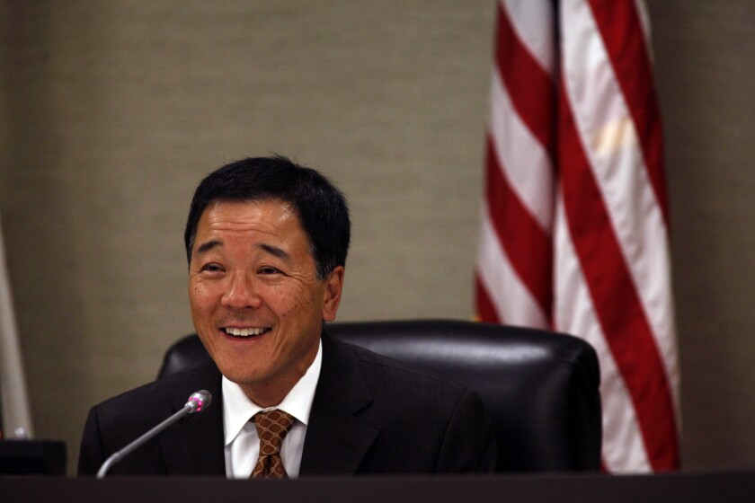Paul Tanaka, mayor of Gardena, is seen in 2014. The former Los Angeles County undersheriff is facing trial in federal court on charges of obstruction of justice and conspiracy.