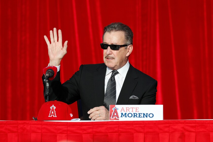 Angels owner Arte Moreno at a 2017 news conference at Angel Stadium.