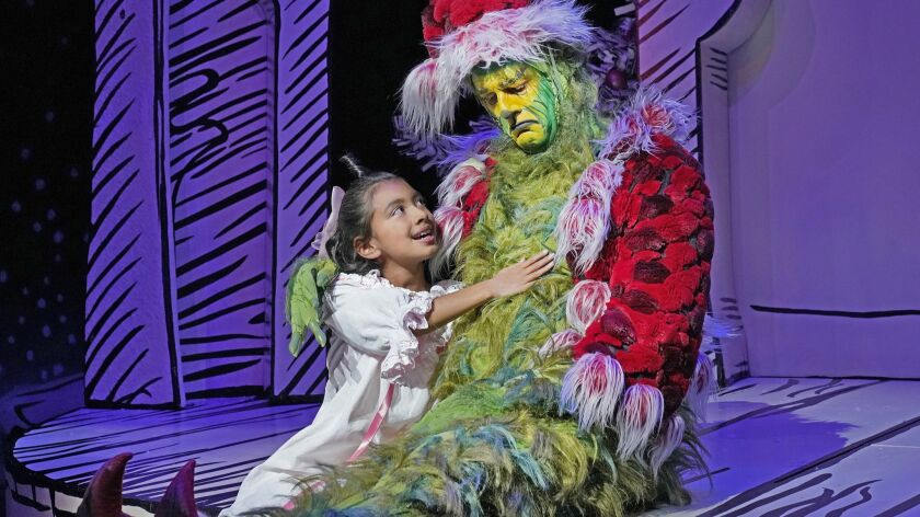 "Leila Manuel as as Cindy-Lou Who and Edward Watts as the Grinch in ""Dr. Seuss's How the Grinch Stole Christmas!"" at The Old Globe in San Diego."