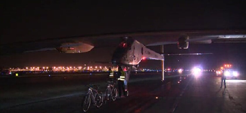 The Solar Impulse when it landed at Dulles International Airport near Washington, D.C., before the final leg to New York.