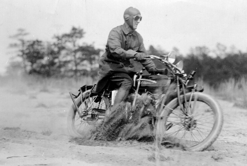 """Erwin """"Cannon Ball"""" Baker, shown in this file photo, left San Diego May 3, 1914 on his historic ride east to New York, a ride that took him 11 days, shattering the previous record."""