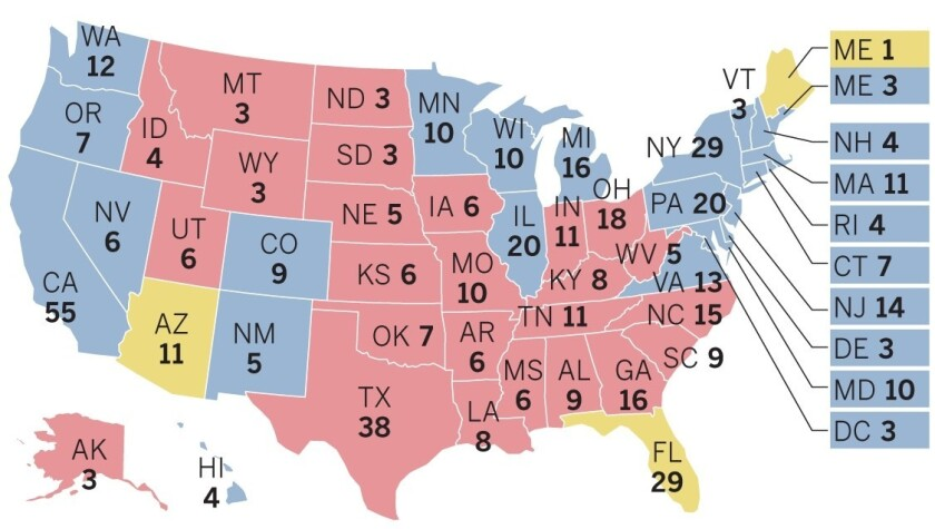 Electoral map based on 2018 midterm
