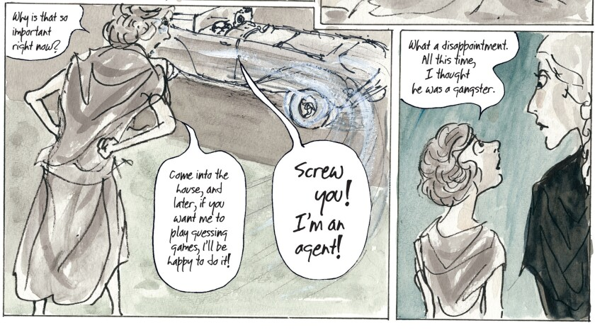 """Two panels from """"Kill My Mother: A Graphic Novel"""" (p. 92) by Jules Feiffer"""