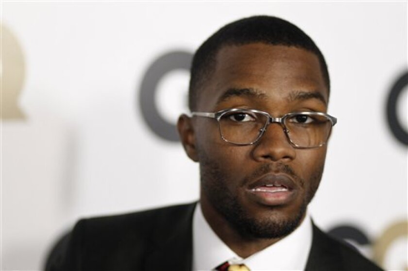 "FILE - This Nov. 17, 2011, file photo, shows musician Frank Ocean at the 16th annual GQ ""Men of the Year"" party in Los Angeles. Ocean says he won't pursue criminal charges against Chris Brown, who is alleged to have punched Ocean in a recent fight, in an announcement on his on his Tumblr page Satur"