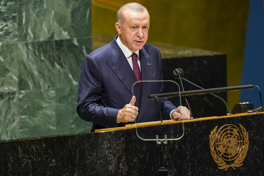 Turkish President Recep Tayyip Erdogan addresses the 76th Session of the United Nations General Assembly, Tuesday, Sept. 21, 2021 at U.N. headquarters. (AP Photo/Mary Altaffer, Pool)