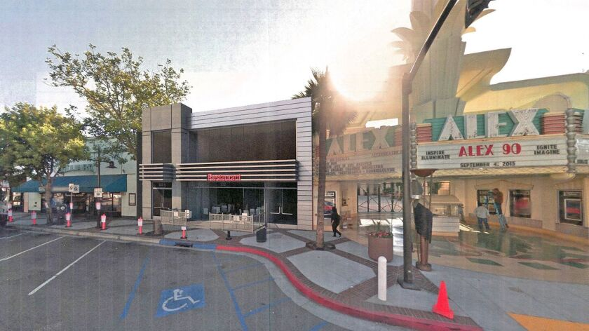 Proposed project design for a new commercial building at 222 North Brand Boulevard by Domus Design.