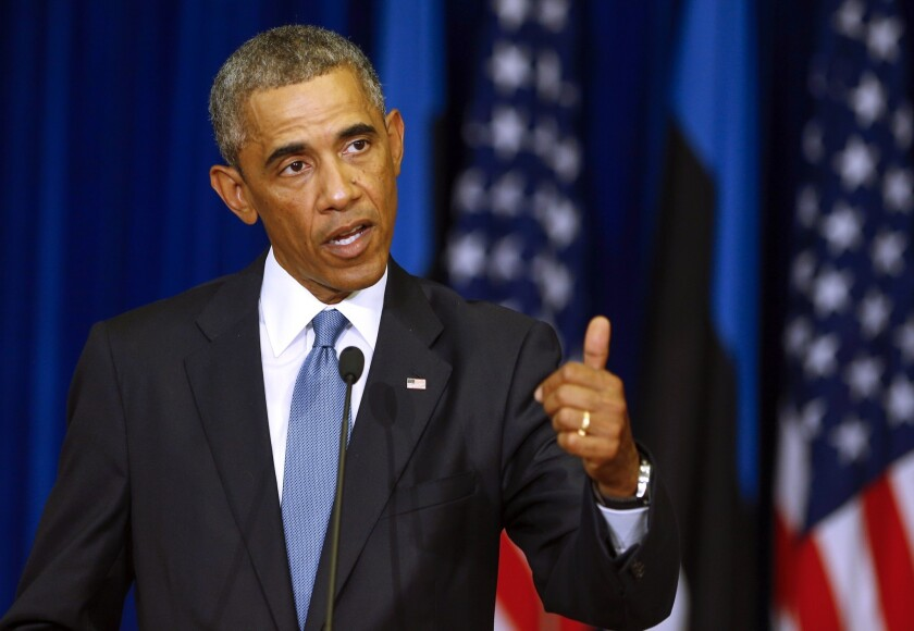 President Obama during a news conference in Tallinn, Estonia, on Wednesday.
