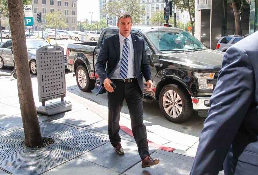 Congressman Duncan Hunter returns to his lawyer's office along B Street at Symphony Towers after his arraignment in August 2018.
