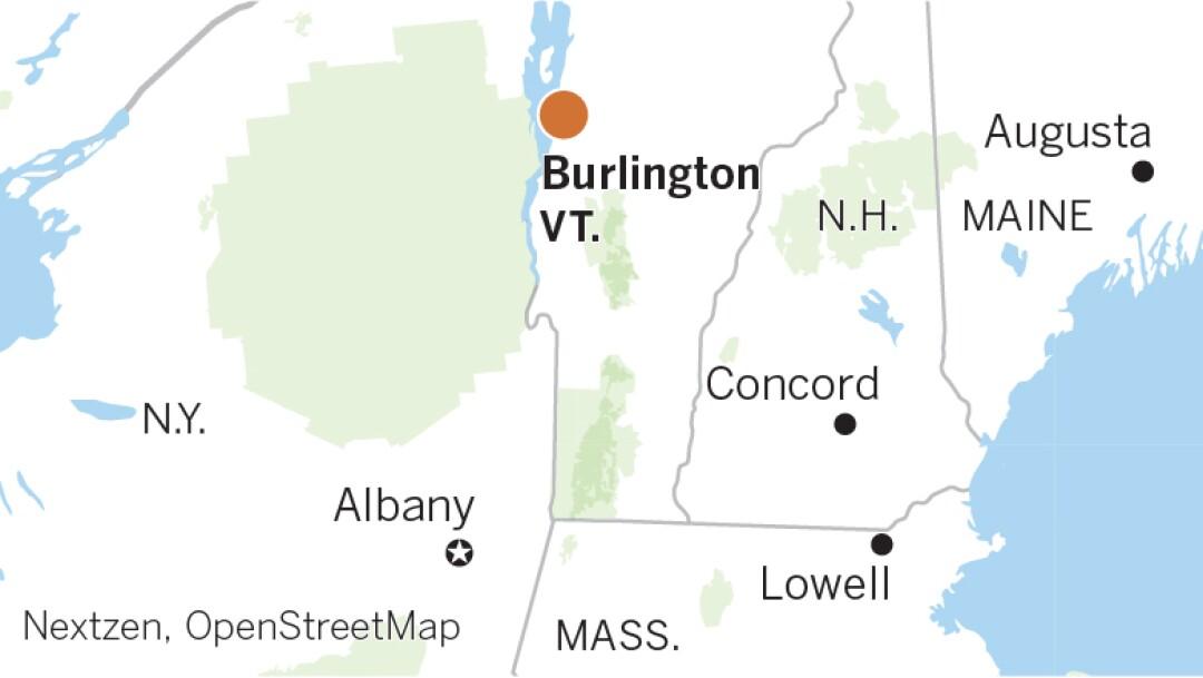 Locator map highlighting Burlington, Vt.