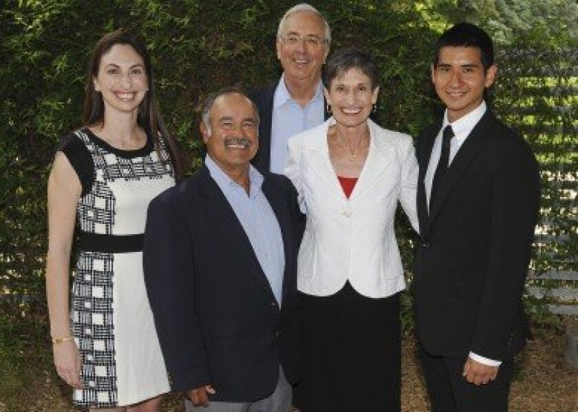 Bob Haas (center, back), daughter Elise (far left) and wife Colleen with long-time family friend, Pancho Lopez, and scholarship recipient Jose Guerrero Cota (far right). Photo by Gregory Urquiaga/UC Davis.